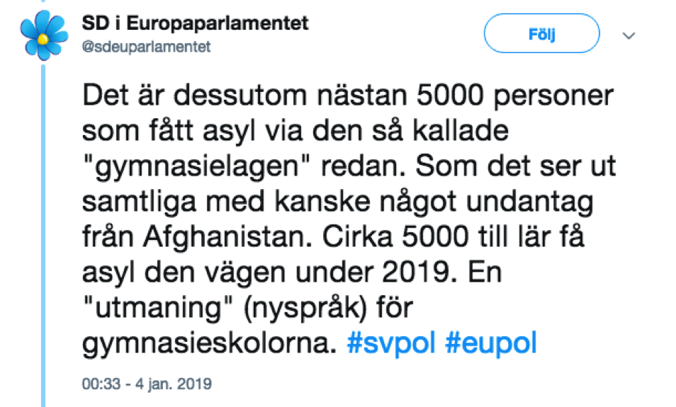 "Mostly true: ""5000 people have received asylum in Sweden"